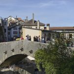 L'arrivée sur le plus vieux pont de Suisse